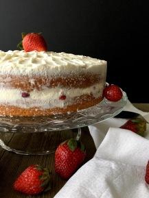 Vanilla Cake with Fresh Strawberries and cream